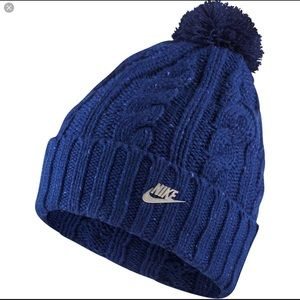 Nike blue removable Pom beanie